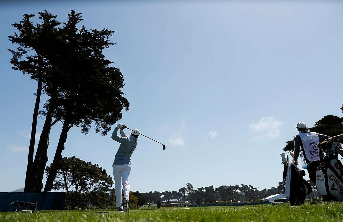 Li Haotong tees off on 18th hole during 2nd round of PGA Championship at TPC Harding Park in San Francisco, Calif., on Friday, August 7, 2020. Haotong shot a 65 (-5) moving him to -8 after two rounds.