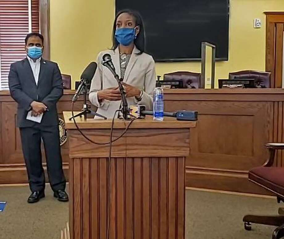 Dr. Jacqueline Minter, director of Fort Bend County Health and Human Services speaks at a press conference in Richmond on Aug. 6. Photo: Submitted
