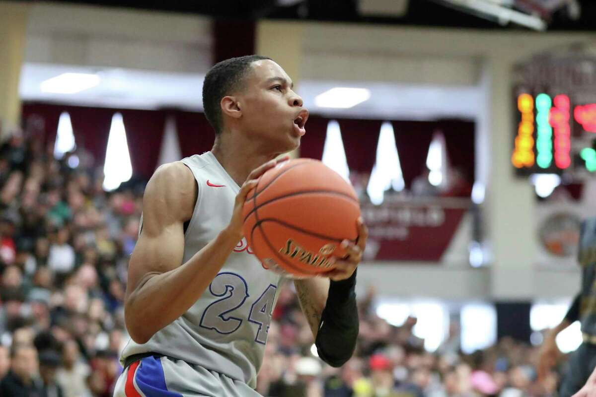 DeMatha's Jordan Hawkins in action against Rancho Christian during a high school game at the Hoophall Classic in January in Springfield, Mass.