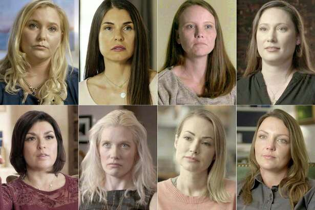 "Lifetime's new docuseries ""Surviving Jeffrey Epstein"" includes participants, top row from left, Virginia Roberts Giuffre, Teresa Helm, Jena Lisa Jones, Kiki, Rachel Benavidez, Marijke Chartouni, Chaunte Davies, and Courtney Wild. The series premieres on Sunday."
