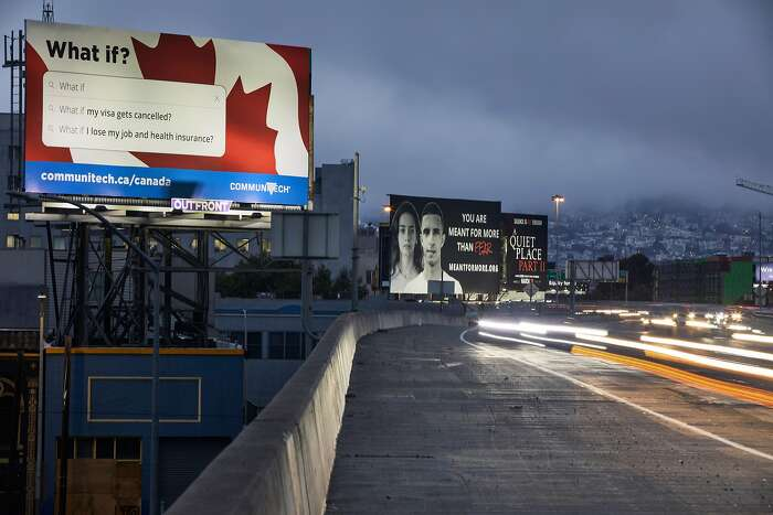 Communitech, which promotes the tech industry in Canada, is running a billboard campaign along Highway 101, encouraging overseas workers to check out jobs in Canada which is more hospitable to them.