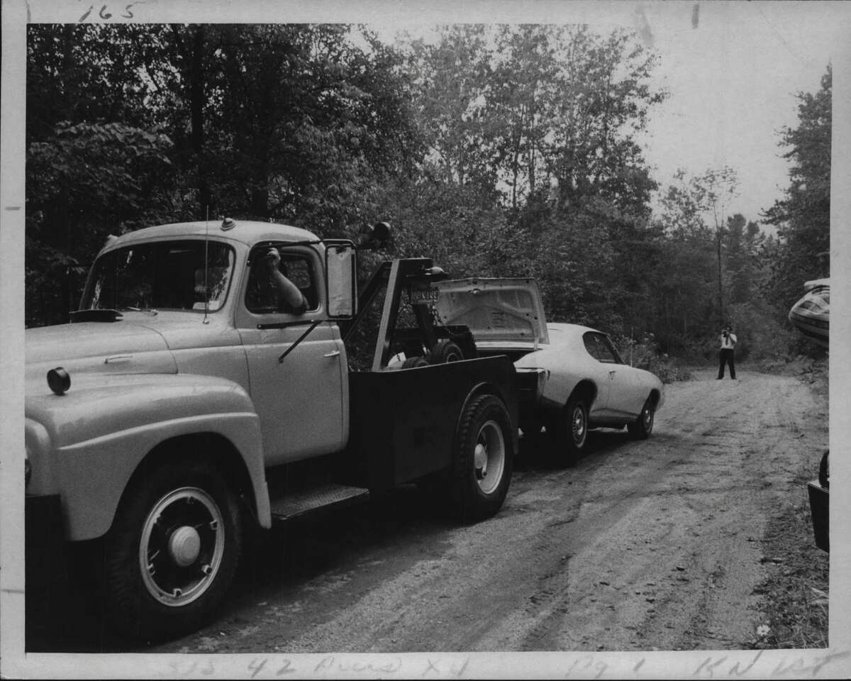 Truck towing car believed to have been used by Robert Garrow, New York. August 8, 1973 (Times Union Archive)