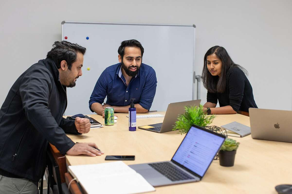 From left, Arjun Narang, CTO, Gautam Narang, CEO, and Chief Engineer Apeksha Kumavat talk about their company Gatik that is creating autonomous trucks. Gatik is setting up an office in Canada because it's easier to hire skilled overseas engineers outside of the United States.
