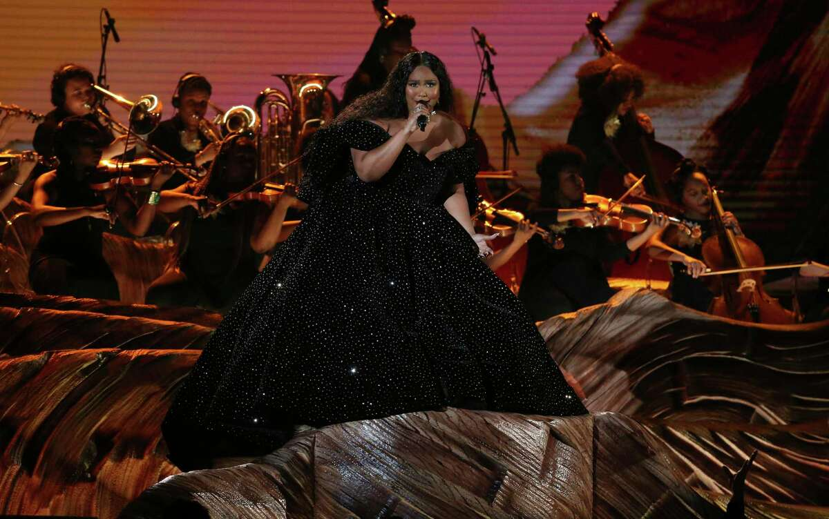 Lizzo performs at the 62nd annual Grammy Awards on Sunday, Jan. 26, 2020, in Los Angeles. (Photo by Matt Sayles/Invision/AP)