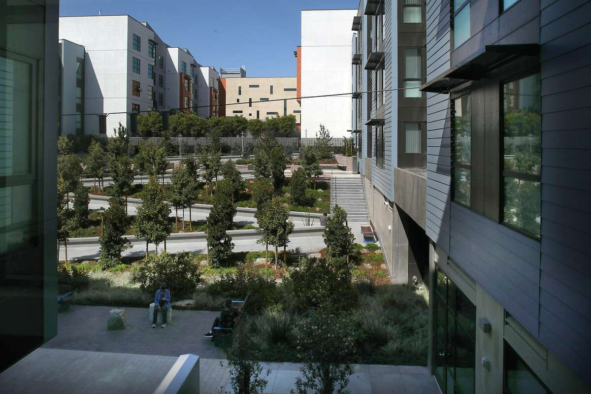 The view from a courtyard on the second floor at the Edwin Lee Apartments in Mission Bay.