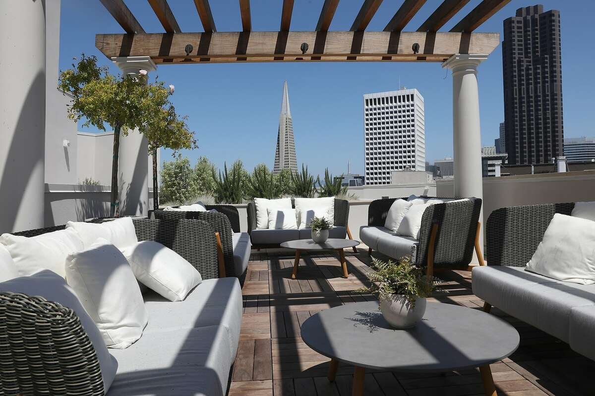 Seating area seen on the rooftop at the Crescent Nob Hill on Thursday, Aug. 6, 2020, in San Francisco, Calif.
