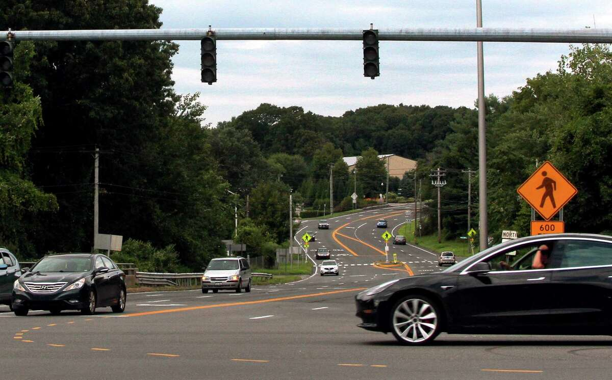 Traffic signals are out at Route 25 and Route 111 in Trumbull, Conn., on Saturday, June 19, 2021, after a power outage. The traffic signals at the intersection are seen here without power in this August 2020 file photo.