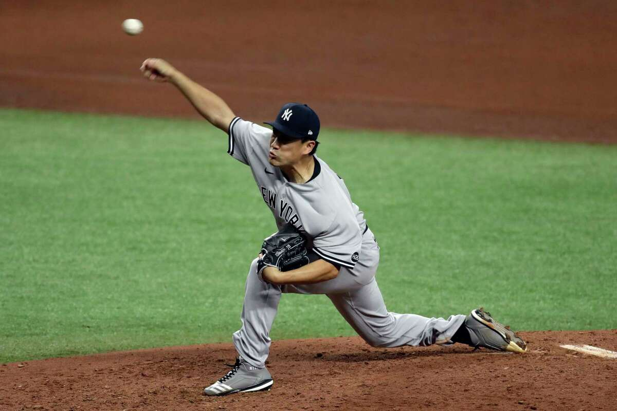 New York Yankees starting pitcher Masahiro Tanaka, of Japan, delivers to the Tampa Bay Rays during the fifth inning of a baseball game Friday, Aug. 7, 2020, in St. Petersburg, Fla. (AP Photo/Chris O'Meara)