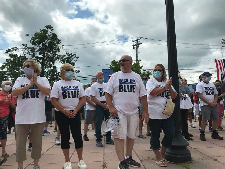 Residents rally Saturday morning in support of officers in the wake of a recent reform bill and nationwide protests over policing. Photo: Contributed Photo