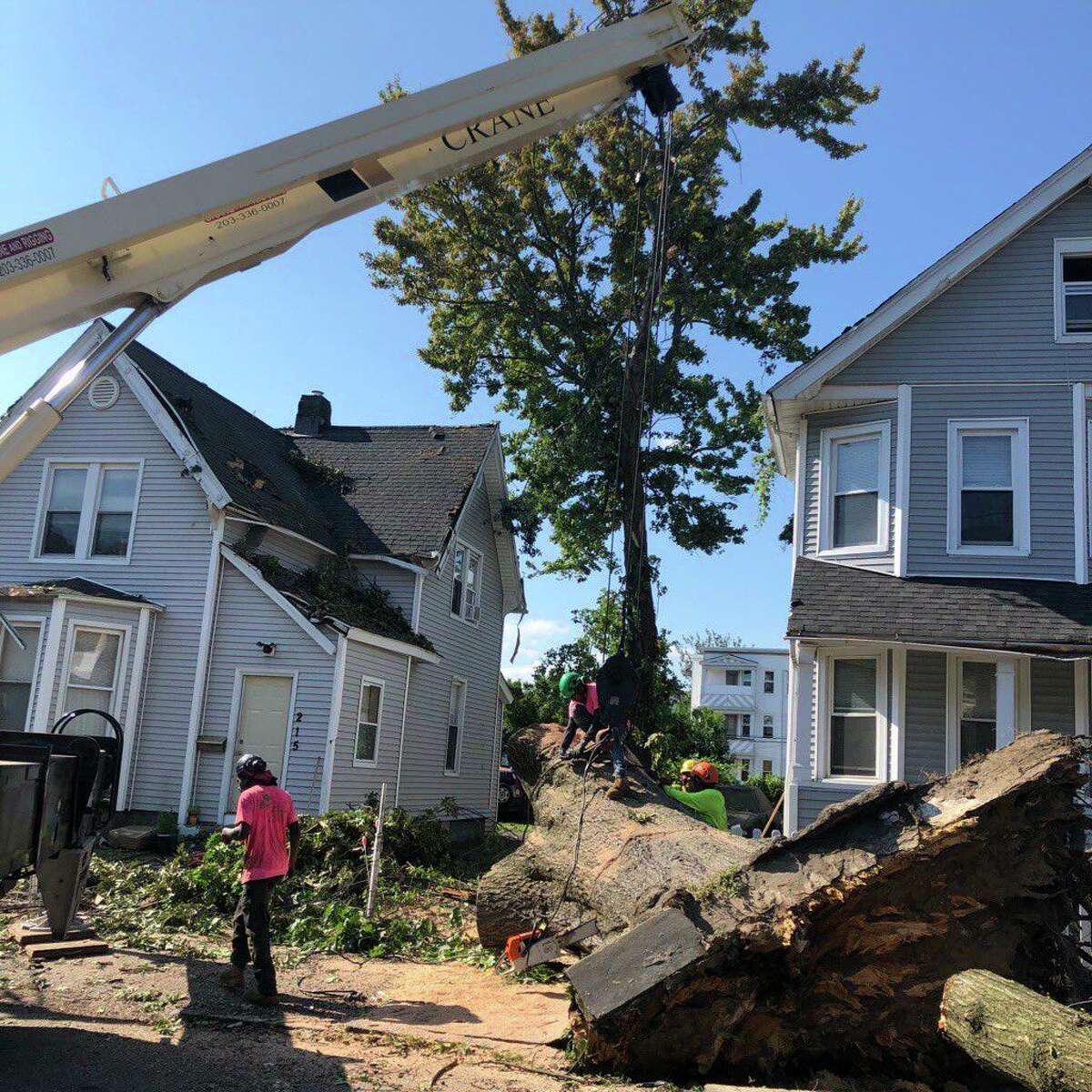 A tree down between homes on Beardsley Street in Bridgeport, Conn., on Saturday, Aug. 8, 2020.