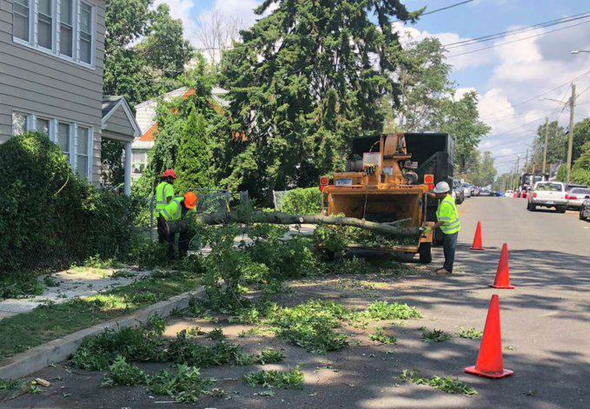Storm damage in Bridgeport, Conn., on Saturday, Aug. 8, 2020, more than four days after a storm hit the state on Tuesday.