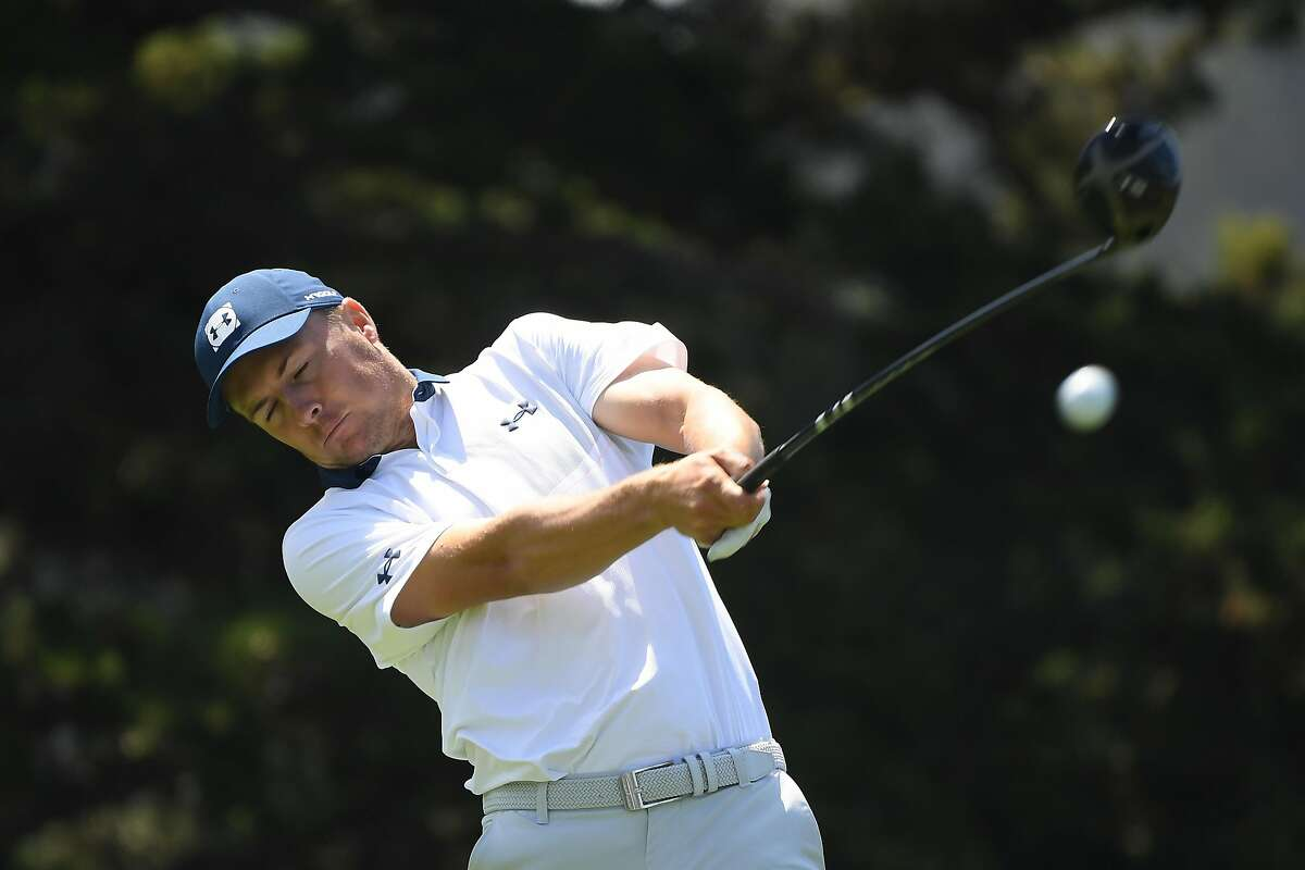 SAN FRANCISCO, CALIFORNIA - AUGUST 08: Jordan Spieth of the United States plays a shot from the 14th tee during the third round of the 2020 PGA Championship at TPC Harding Park on August 08, 2020 in San Francisco, California. (Photo by Harry How/Getty Images)