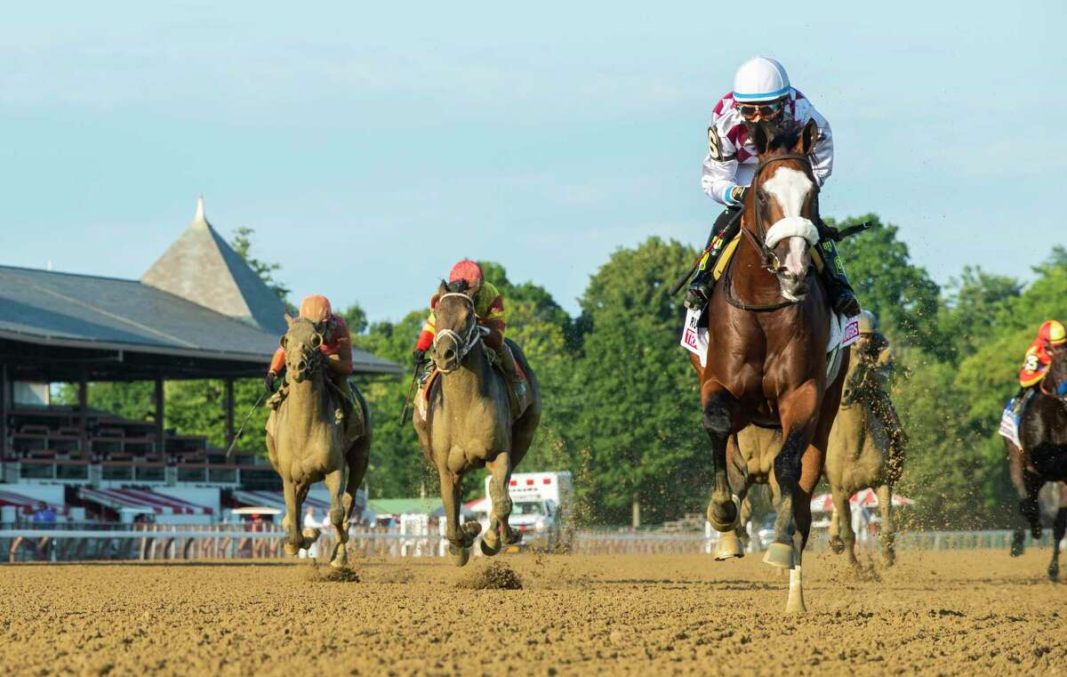 Tiz the Law with jockey Manny Franco leads the field to the finish line and wins convincingly the 151st running of The Travers presented by Runhappy at the Saratoga Race Course Saturday Aug.8, 2020 in Saratoga Springs, N.Y. Photo by Skip Dickstein/Special to the Times Union
