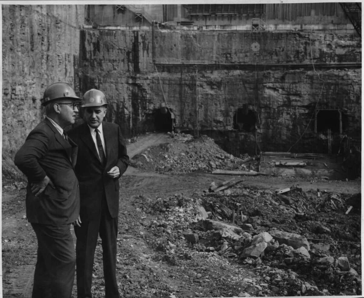 Construction of Blenheim-Gilboa Pumped Storage Project in New York - Walter B. Langley with Jack M. Callyer. October 1970 (Knickerbocker News Staff Photo/Times Union Archive)