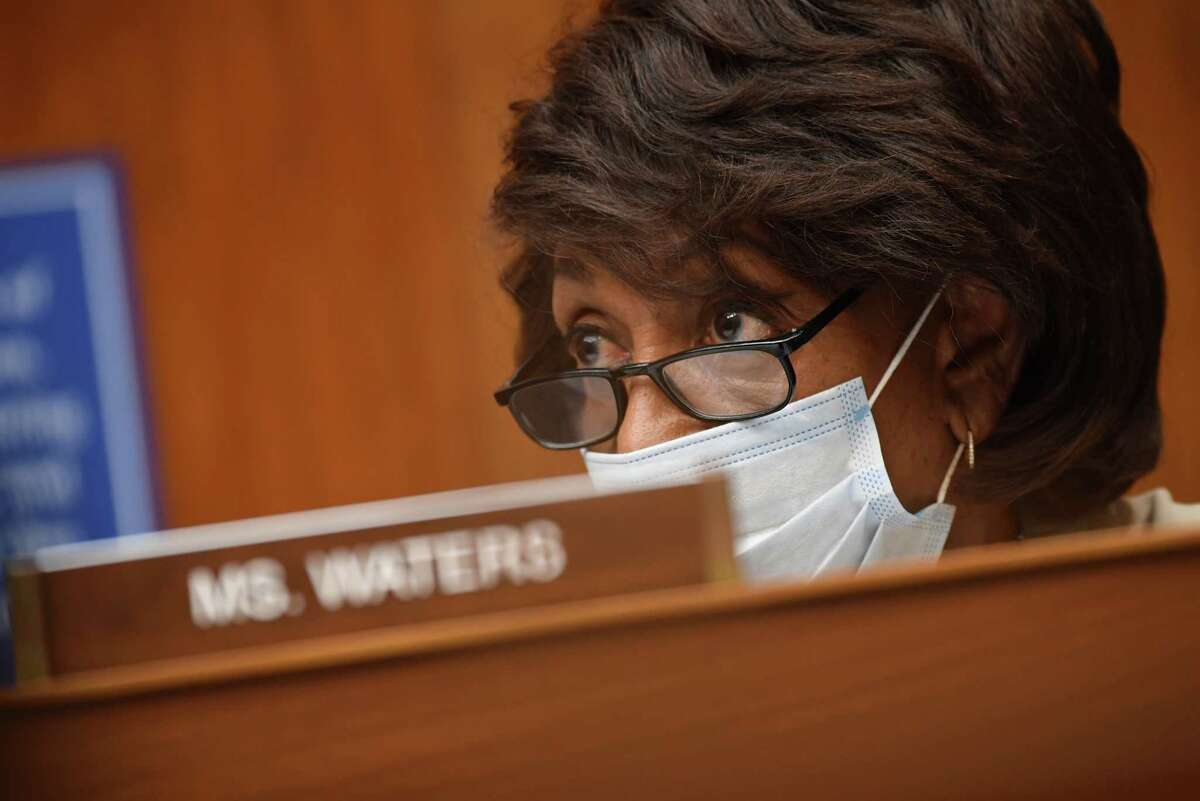 WASHINGTON, DC - JULY 31: Rep. Maxine Waters (D-CA) listens to testimony during a House Subcommittee on the Coronavirus Crisis hearing on Capitol Hill on July 31, 2020 in Washington, DC. The committee will hear testimony from members of the Trump administration's Coronavirus Task Force. (Photo by Kevin Dietsch-Pool/Getty Images)