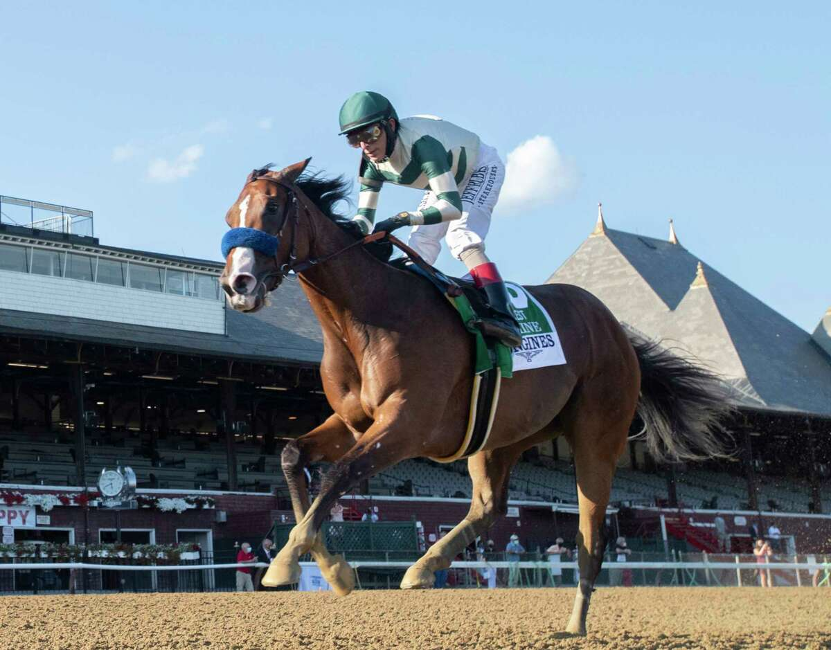 Gamine with John Velazquez wins the Longine Test Stakes at the Saratoga Race Course Saturday Aug.8, 2020 in Saratoga Springs, N.Y. Photo by Skip Dickstein/Tim Lanahan/Special to the Times Union