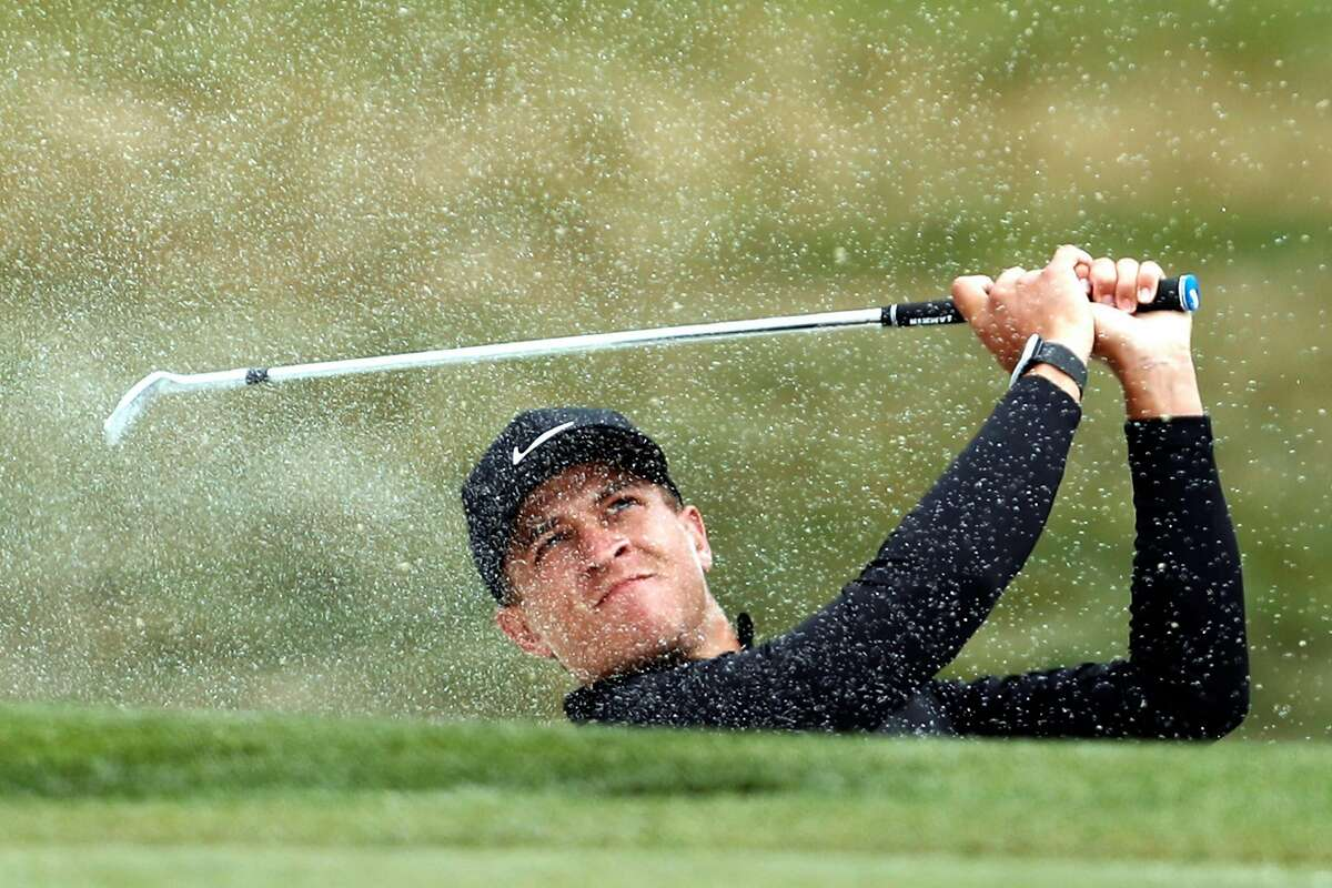 Cameron Champ watches his bunker shot while making a birdie on the 4th hole during 3rd round of PGA Championship at TPC Harding Park in San Francisco, Calif., on Saturday, August 8, 2020.