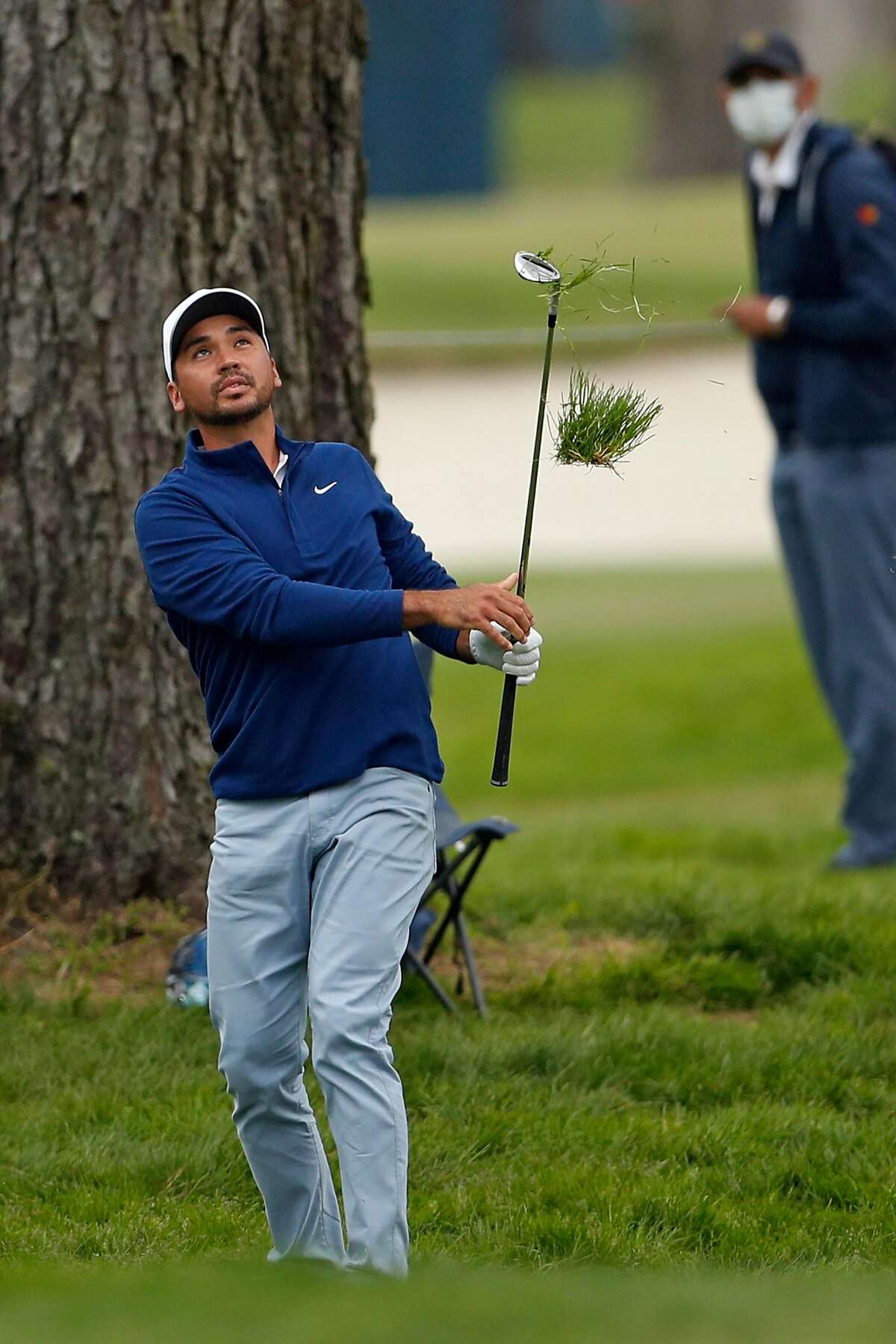 Jason Day watches his chip on 7th green during 3rd round of PGA Championship at TPC Harding Park in San Francisco, Calif., on Saturday, August 8, 2020.