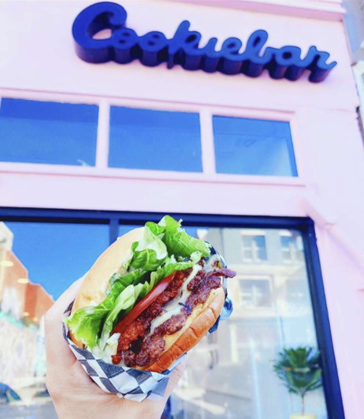 One of Smish Smash's burgers, as seen outside of its pop-up location at Cookiebar Creamery.