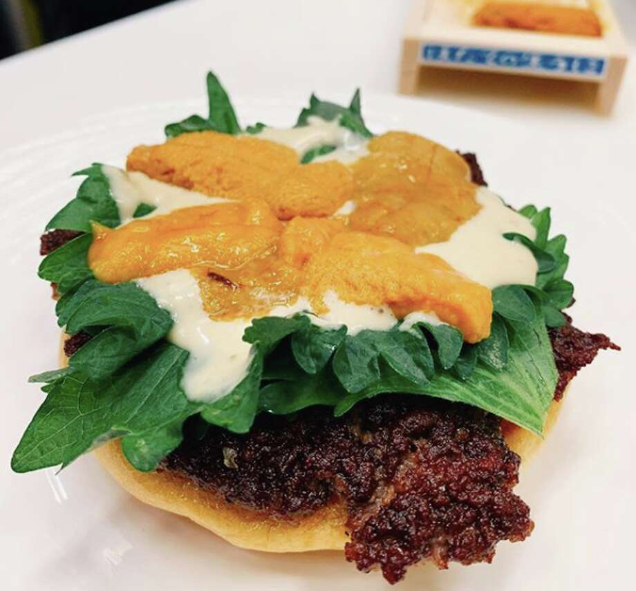 The special uni burger, dreamed up by Donado, was one of Smish Smash's burger specials on a recent weekend. Photo: Courtesy Of Smish Smash