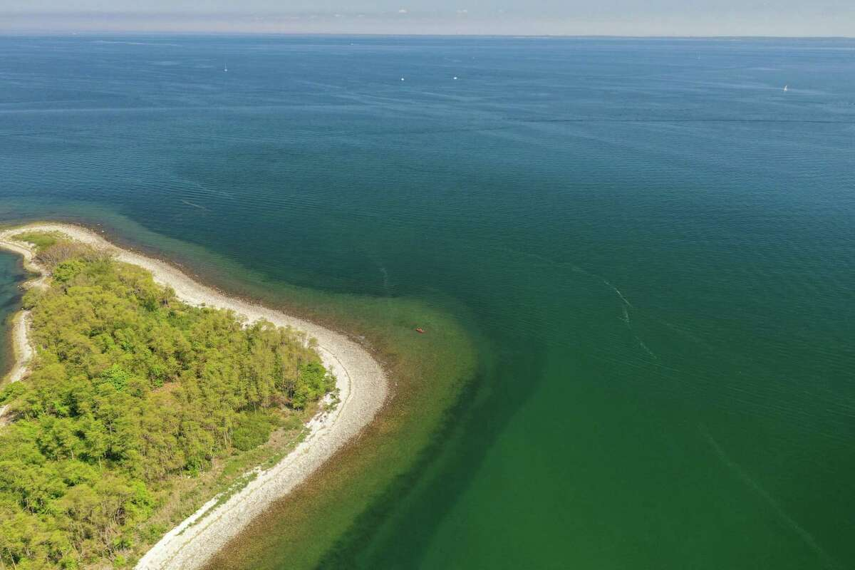 Aerial view between Shea and Sheffield islands, part of a 6-mlle chain of dozens of islands about a mile off the Norwalk coast. The stretch is home to submerged boulders, reefs, mudflats and many aquatic creatures.