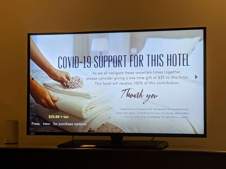 A guest at Seattle Motif hotel was surprised to see a plea for donations to the hotel on his in-room TV. Photo: Courtesy Alex Kremer