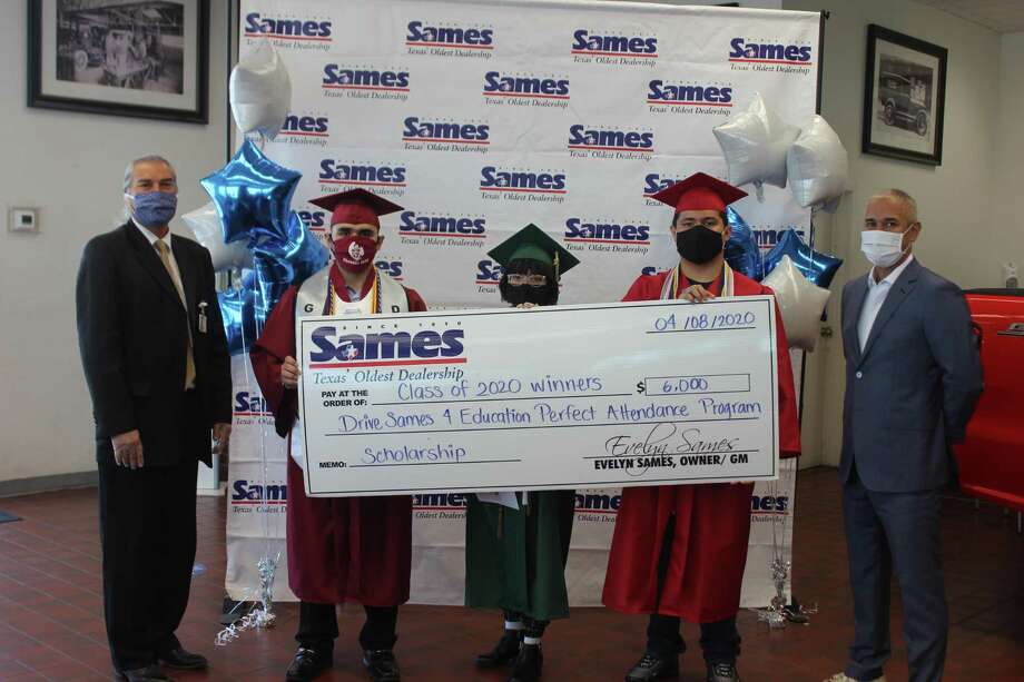LISD Sames Drive 4 Education Scholarship recipients (from left to right: Ignacio Salazar, Garcia Early College High School, Brianna Hernandez, Nixon High School, and Jonathan Cortez, Martin High School, along with LISD Assistant Superintendent for Compliance and School Safety Oscar Perez and Sames General Manager Thomas Pina were recently present at the Sames Scholarship presentation at Sames Auto Dealership. Photo: Courtesy Of LISD