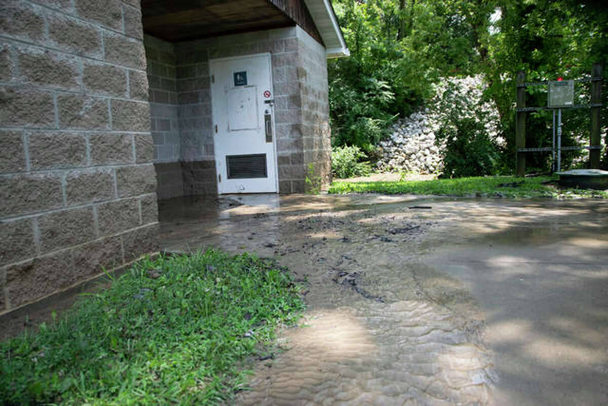 A building near the baseball fields at Miner Park shows a waterline about two feet up the building with mud coating some of the walls and most of the patio and sidewalks. The creek that is usually about a foot deep was estimated from the waterline on the building by a reporter to have been about 10 feet deep around 10 a.m. Sunday. By 1 p.m. Sunday, the creek recessed to about five feet deep.