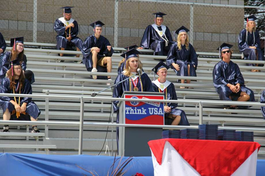 The Unionville-Sebewaing Area School District finally held it's 2020 graduation out on the school's football field over the weekend. The ceremony was followed by a parade through Unionville and Sebewaing. Photo: Robert Creenan/Huron Daily Tribune