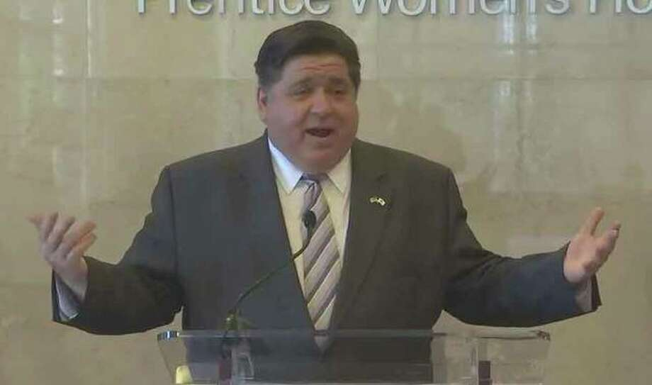 Gov. J.B. Pritzker answers questions from the press after Sunday's daily COVID-19 briefing held at the Northwestern University Feinberg School of Medicine (Northwestern Memorial Hospital) in Chicago. Photo: For The Intelligencer