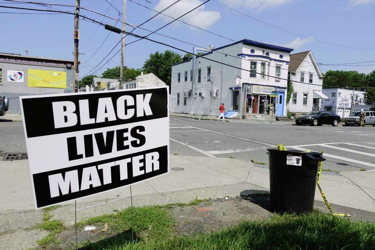 A view of the intersection of First Street and Quail Street on Sunday, Aug. 9, 2020, in Albany, N.Y. Four people were shot near the intersection Saturday evening. One person died in the shooting. (Paul Buckowski/Times Union)