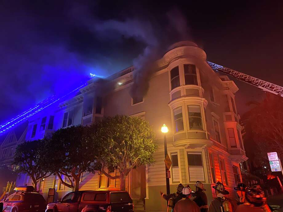 Residences at 77-79 Carmelita St. sustained fire damage, while residences at 99 Carmelita and 661-663 Waller St. were damaged by exposure to the fire, officials said. Photo: @SFFFLocal798 / Twitter