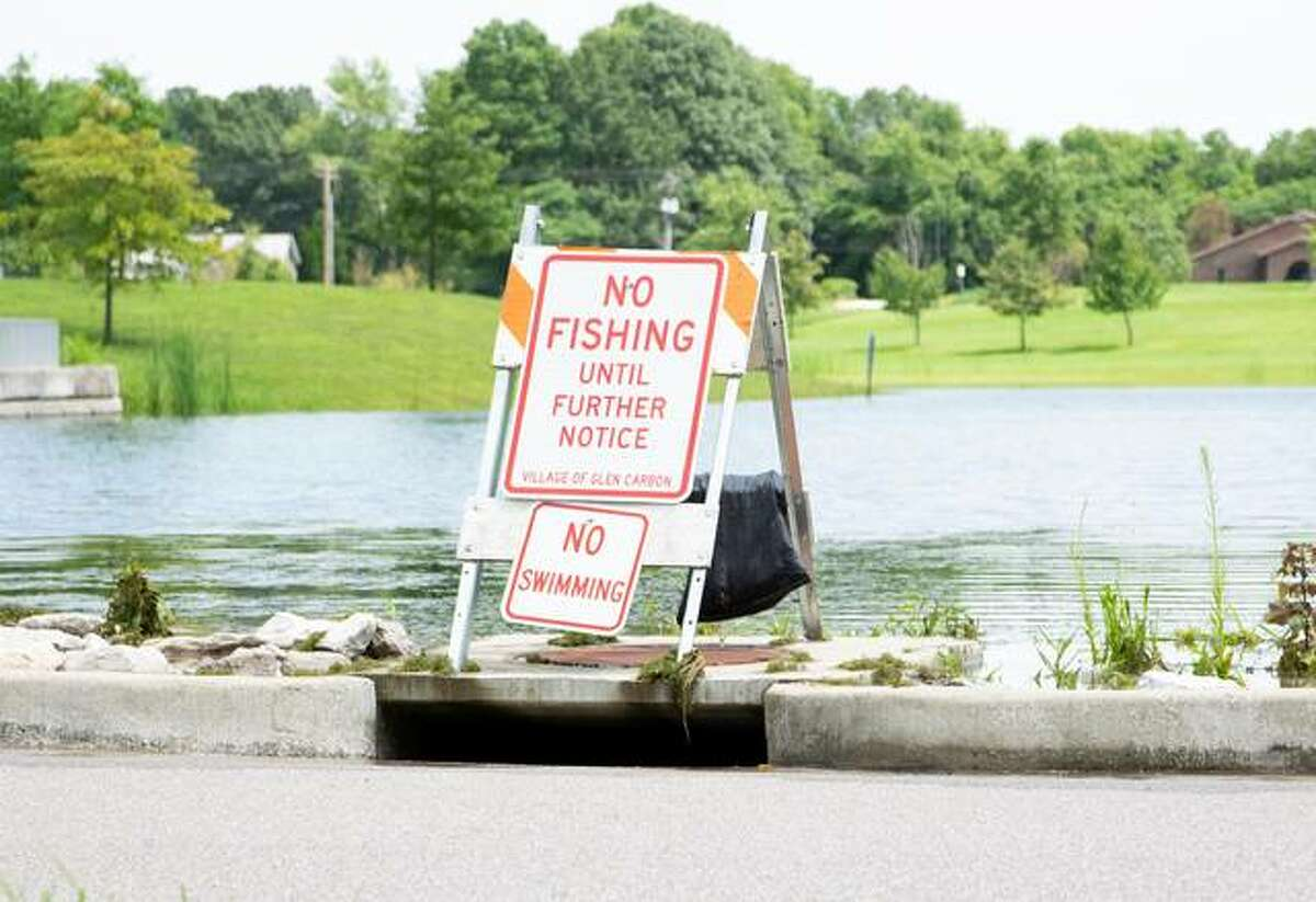 Glen Carbon's Ray M. Schon Park's pond is nearly level with a levee on the far west side. A reporter estimated the pond to be about 3-feet higher than normal at the time Sunday.