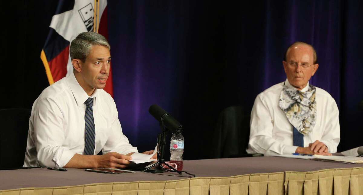 Mayor Ron Nirenberg (left) and Bexar County Judge Nelson Wolff give the daily city-county briefing on the latest coronavirus numbers. The briefings have increased Nirenberg's profile and could help him win voter approval of his economic recovery plan in November.