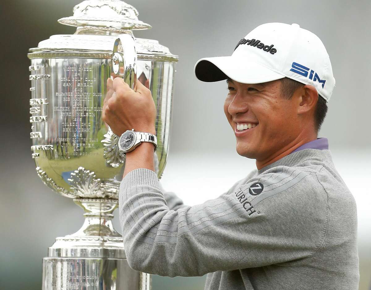 Cal Alum Collin Morikawa with Wanamaker Trophy after winning PGA Championship at TPC Harding Park in San Francisco, Calif., on Sunday, August 9, 2020. Morikawa shot a final round 64 (-6) and -13 for the tournament.