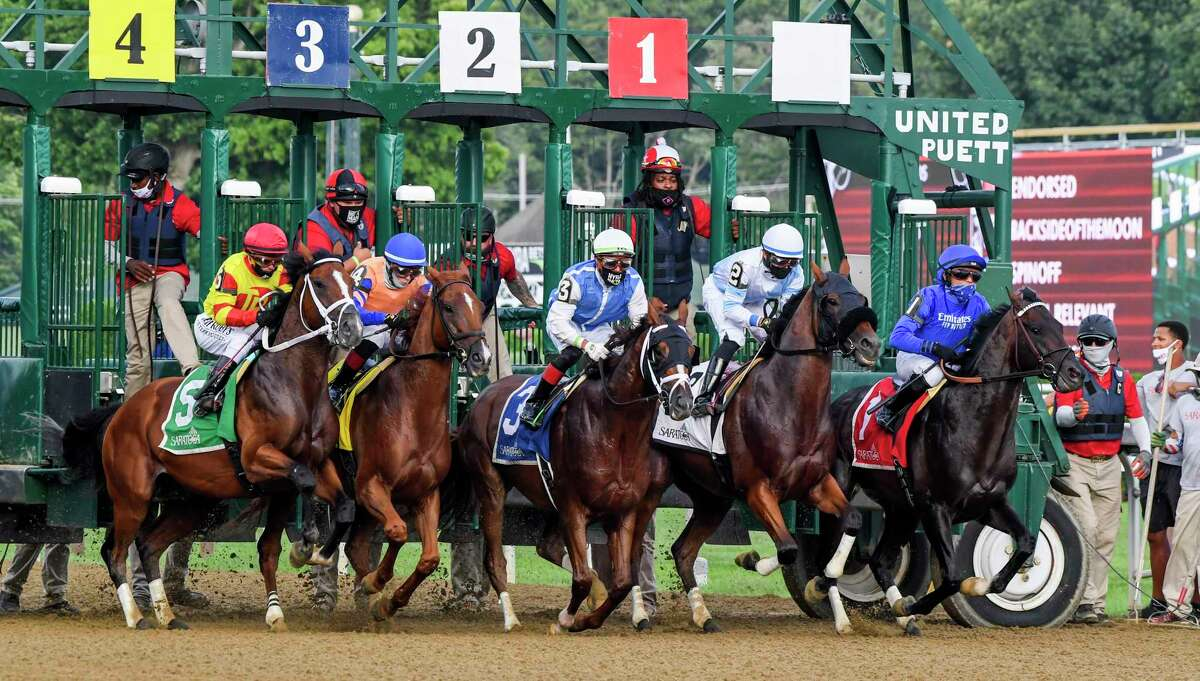 The field for The Alydar leaves the gate with #5 Bodexpress with Javier Castellano aboard at the Saratoga Race Course Sunday Aug.9, 2020 in Saratoga Springs, N.Y. Photo by Skip Dickstein/Special to the Times Union