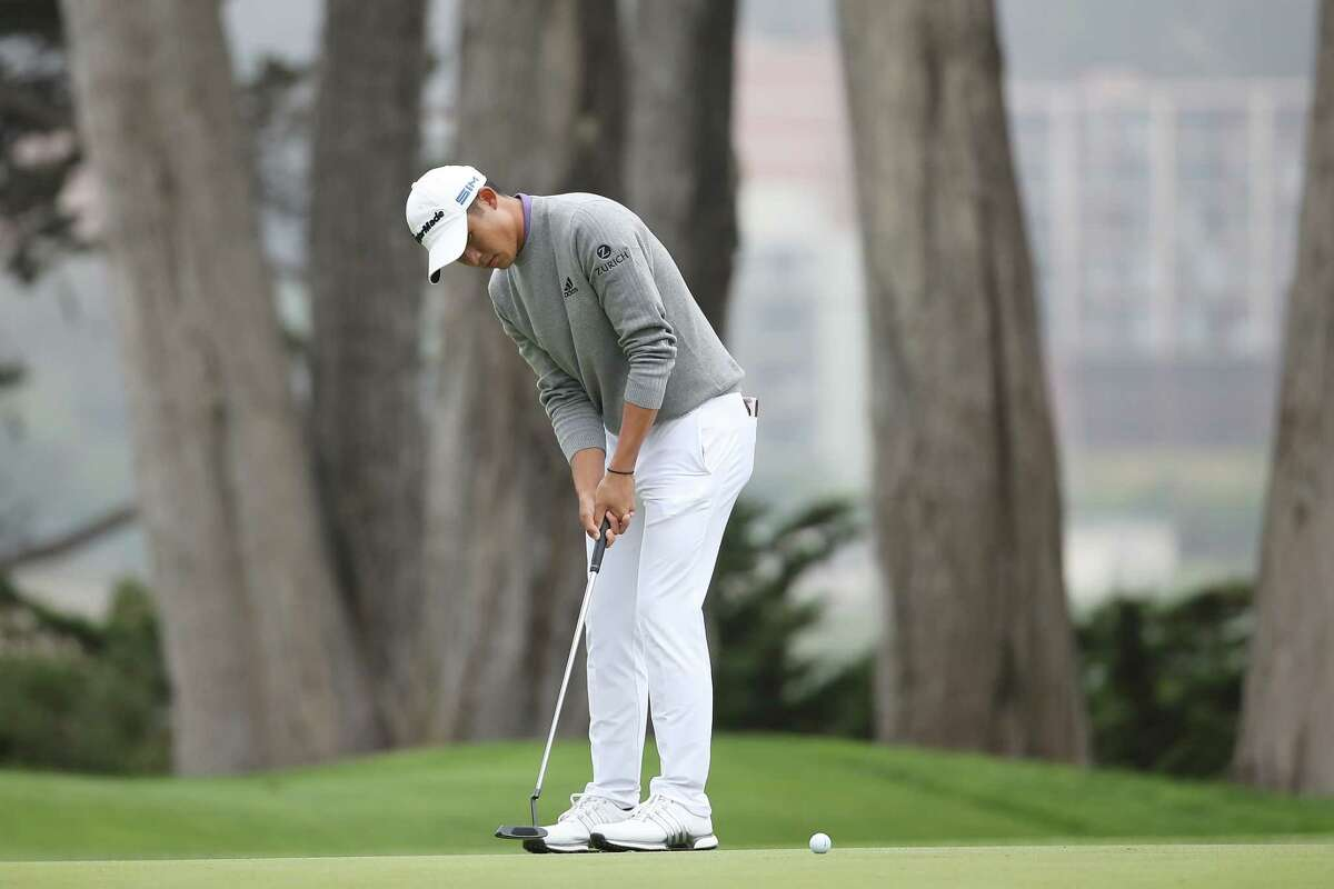 SAN FRANCISCO, CALIFORNIA - AUGUST 09: Collin Morikawa of the United States putts for eagle on the 16th green during the final round of the 2020 PGA Championship at TPC Harding Park on August 09, 2020 in San Francisco, California. (Photo by Sean M. Haffey/Getty Images)