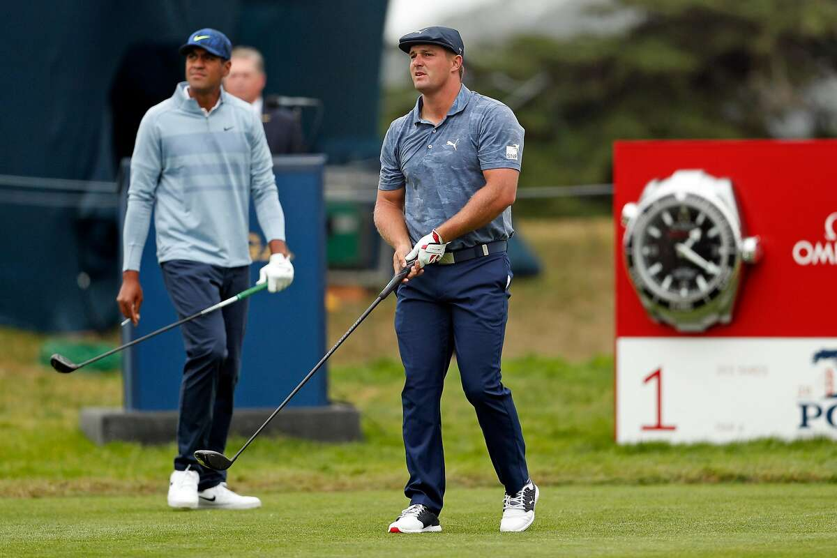 Bryson DeChambeau and Tony Finau while teeing off on 1st hole during final round of PGA Championship at TPC Harding Park in San Francisco, Calif., on Sunday, August 9, 2020.