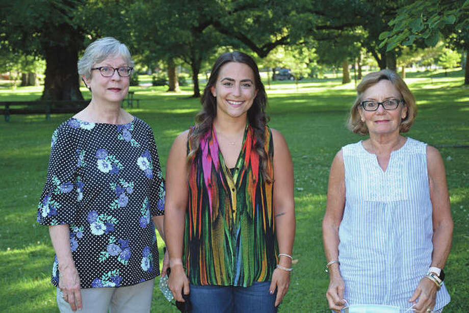 Bentley Stewart (center) is the recipient of a Ladies Education Society Adah Laura Coultas grant. With her are society members JoAnn Nelson (left) and Addie Coultas. Photo: David Blanchette | Journal-Courier