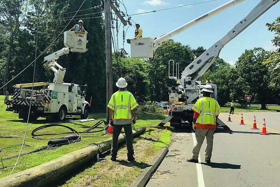 """Nearly a week after Tropical Storm Isaias tore through Connecticut, more than 90,000 customers are still without power Monday morning on Aug. 10, 2020. Eversource reported that 90 percent of its customers have had their power restored as of 6 a.m. Eversourcer said it have restoration """"substantially complete"""" by 11:59 p.m., Tuesday, Aug. 11, 2020."""