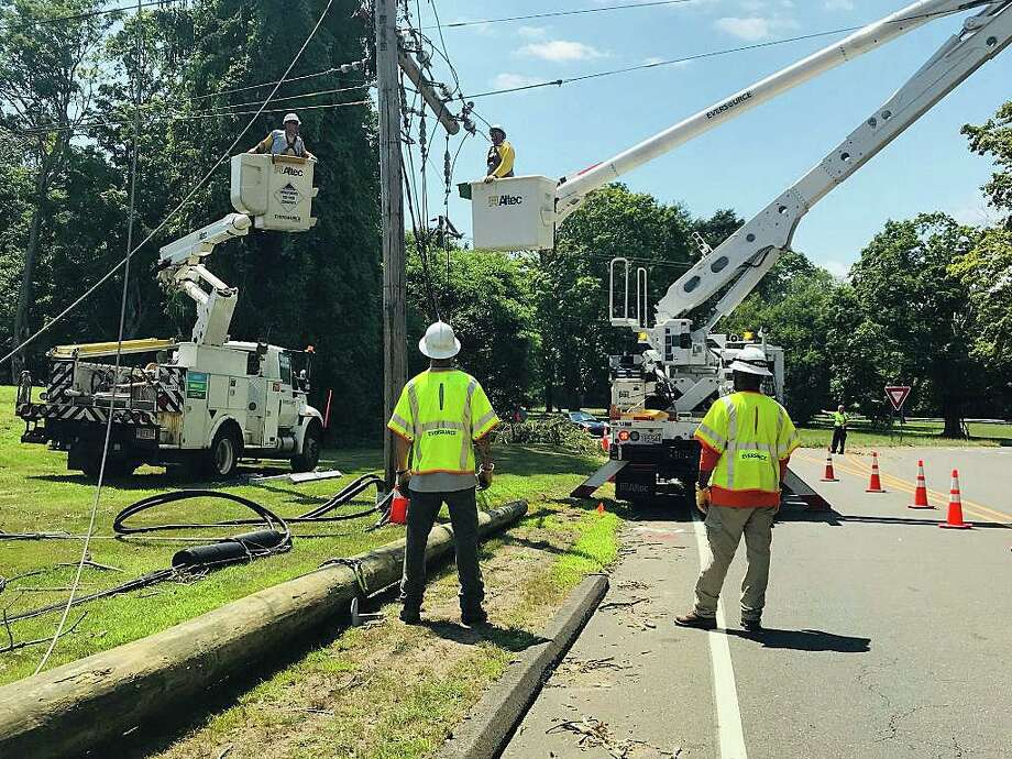 "Nearly a week after Tropical Storm Isaias tore through Connecticut, more than 90,000 customers are still without power Monday morning on Aug. 10, 2020. Eversource reported that 90 percent of its customers have had their power restored as of 6 a.m. Eversourcer said it have restoration ""substantially complete"" by 11:59 p.m., Tuesday, Aug. 11, 2020. Photo: Eversource Photo"