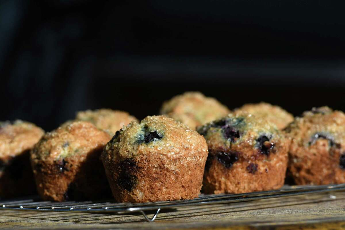 Blueberry muffins from Caroline Barrett on Thursday, July 30, 2020, at her home in Delmar, N.Y. (Will Waldron/Times Union)
