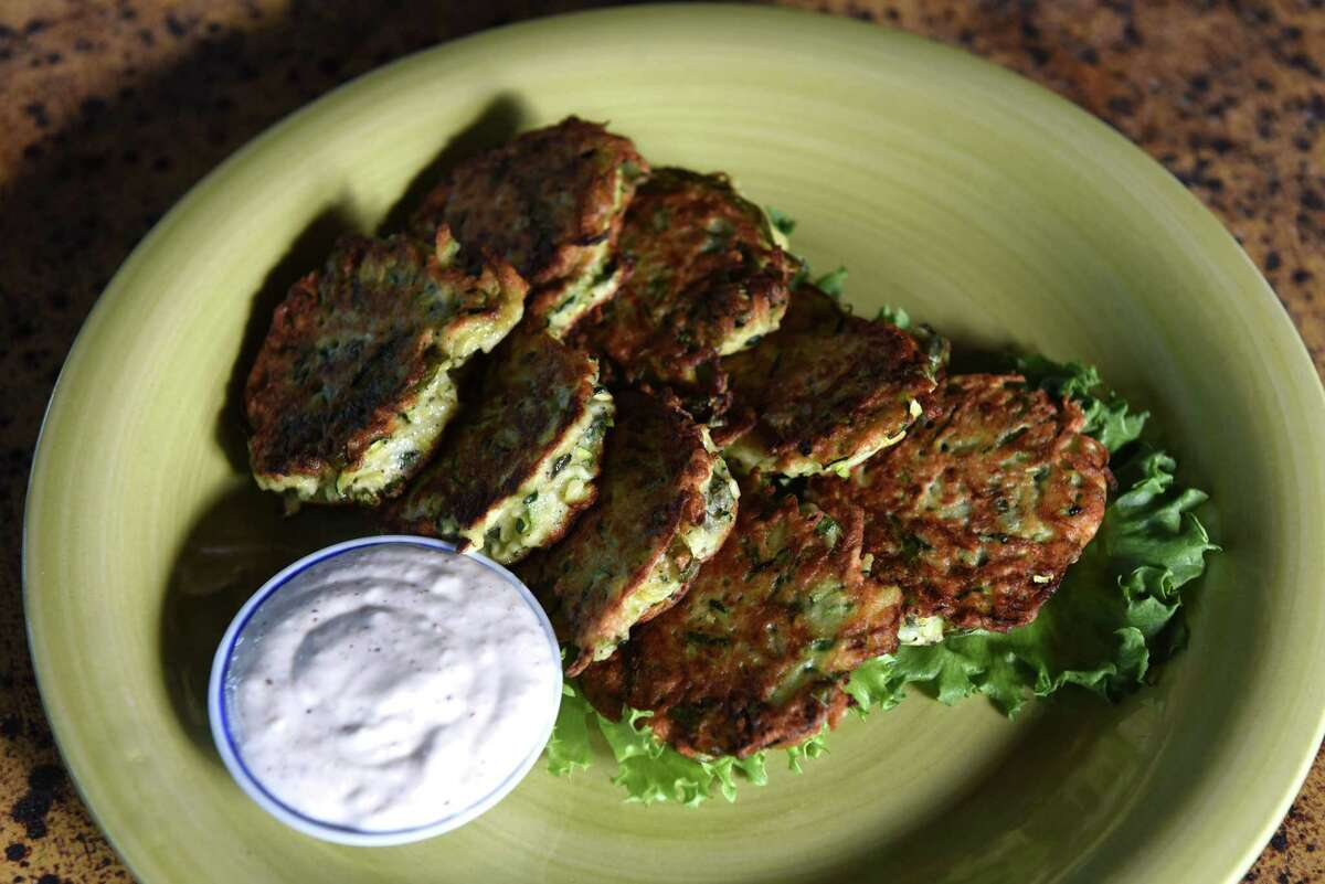 Zucchini fritters from Caroline Barrett on Thursday, July 30, 2020, at her home in Delmar, N.Y. (Will Waldron/Times Union)