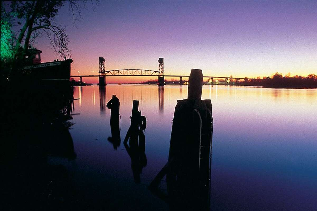 The iconic vertical-lift Cape Fear Memorial Bridge in downtown Wilmington.