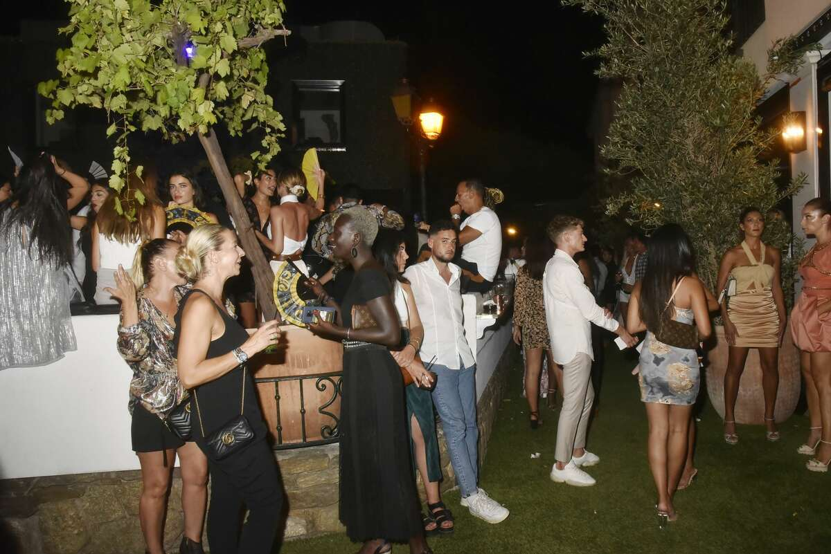 A general view of atmosphere`during the VIP Room Saint Tropez Gioia Restaurant Party of August 1, in Saint Tropez France.