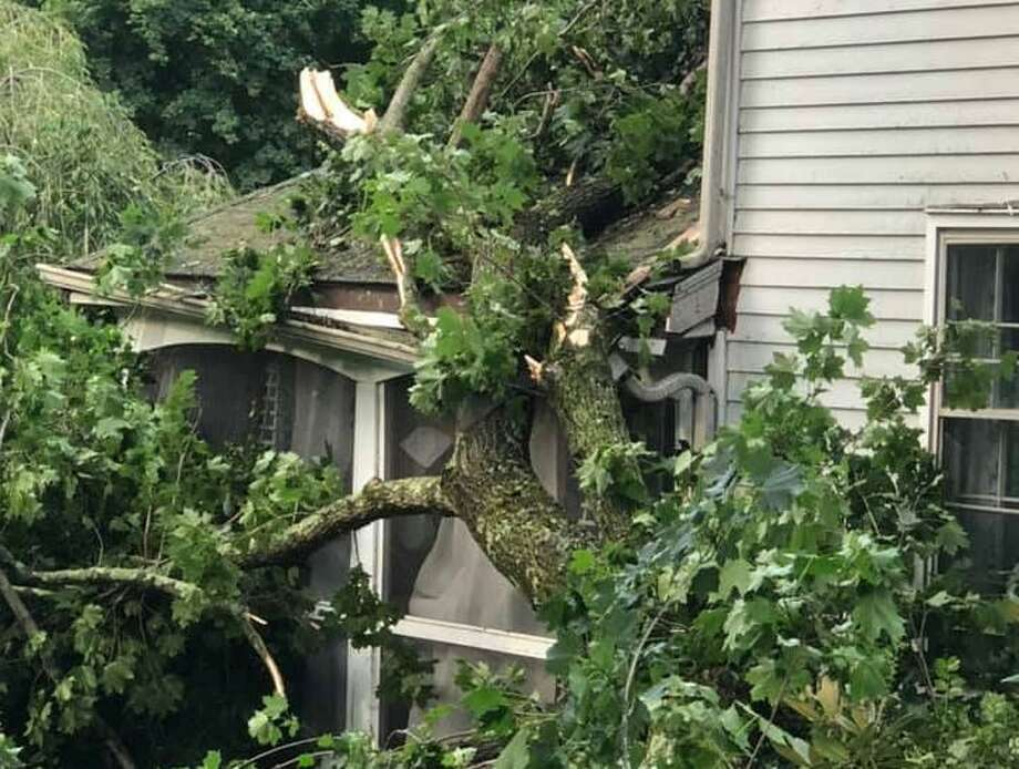Susan Miller Onthank posted this photo on the Bulletin's Facebook page showing damage wrought by Tropical Storm Isaias on Aug. 4. Photo: Contributed Photo / / Wilton Bulletin Contributed