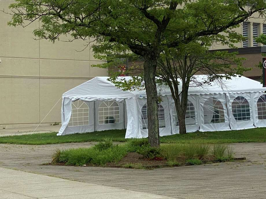 This tent, located near the front of New Canaan High School, is expected to be used as a classroom in the fall to encourage social distancing. Photo: Grace Duffield / Hearst Connecticut Media