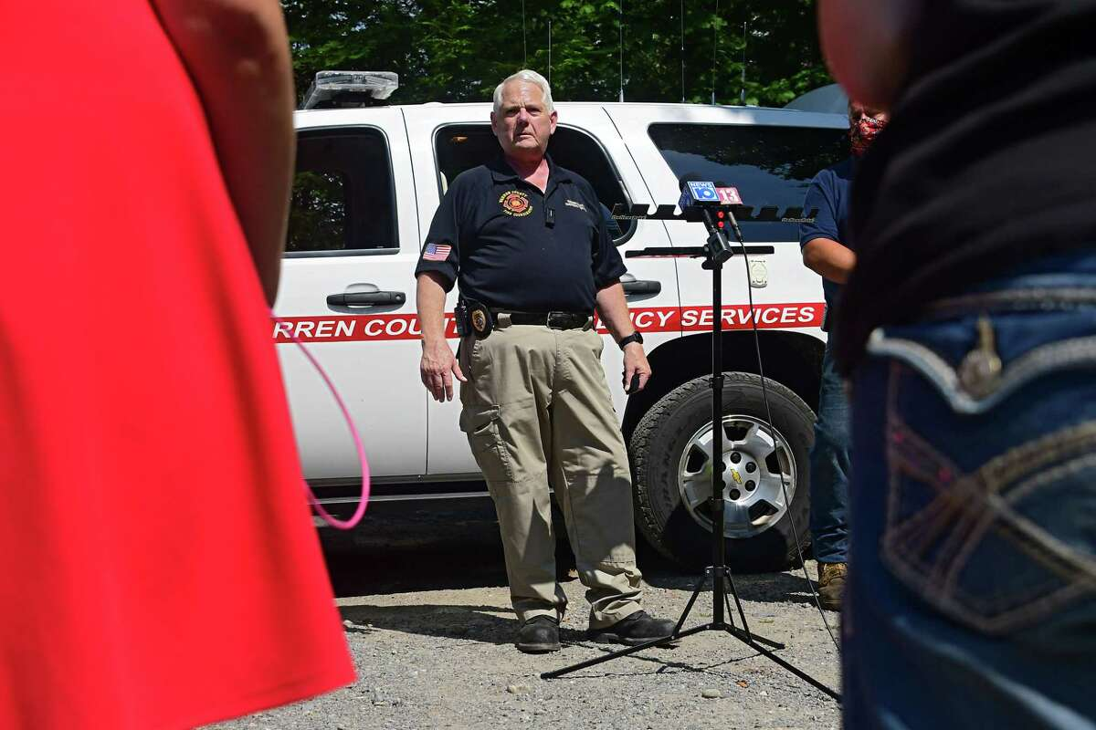 Brian LaFlure, Warren County fire coordinator, speaks to the press about the fire that happened at Rachael Ray's home late Sunday night on Monday, Aug. 10, 2020 in Lake Luzerne, N.Y. (Lori Van Buren/Times Union)
