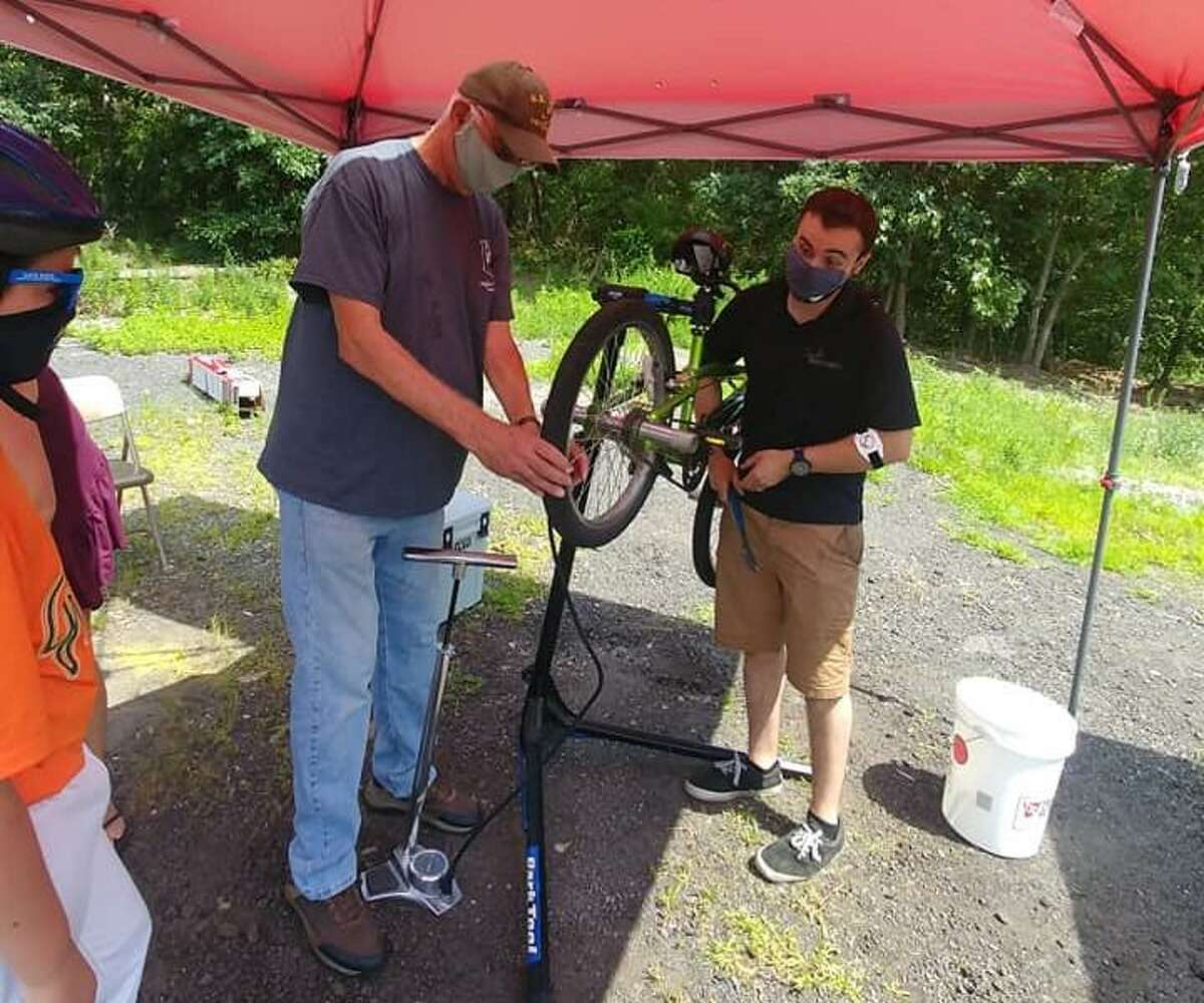 Residents got a bike tune up Saturday, Aug. 8, during the Sutter-Terlizzi American Legion Post 16 of Shelton's bike safety rodeo at the post home on Old Bridgeport Avenue in Shelton.