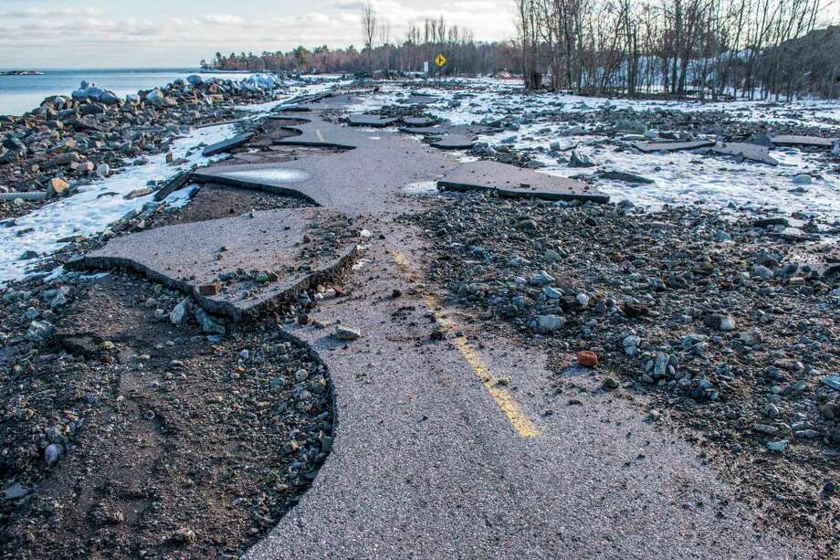 High Lake Superior water levels and strong storms severely damaged portions of Lakeshore Boulevard in Marquette, Michigan, forcing city officials to close the popular route. (Courtesy photo/Michigan Department of Natural Resources) / (C) 2019